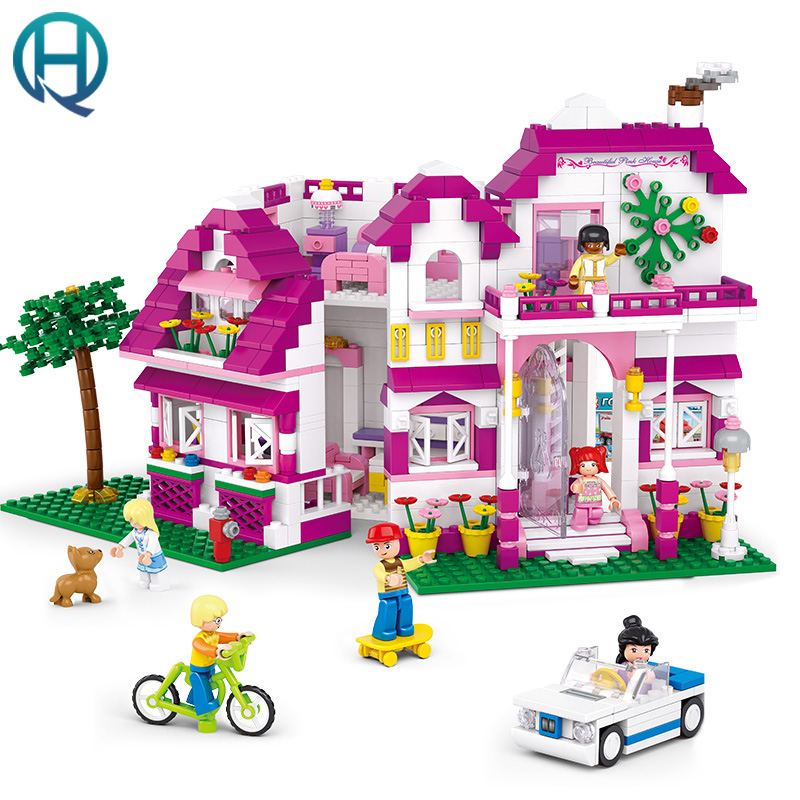New Friends Building Blocks City Toys Compatible with Playmobil for Children City  Sunshine Villa Educational Toys for Children arpa compatible friends building blocks girl minifigure riding motorcycle with kitten city architecture fountain children toys