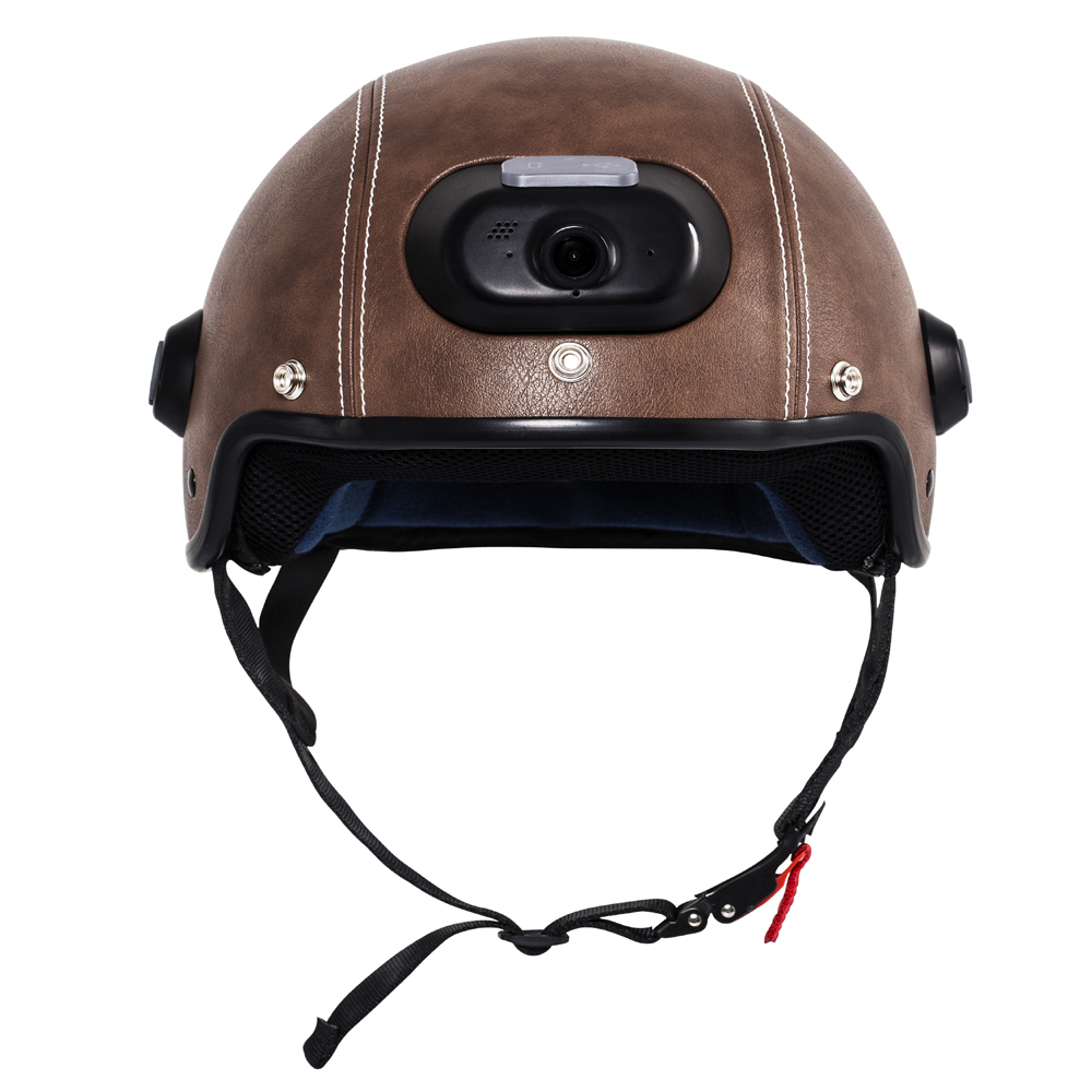 Genuine Leather Helmet with WIFI Camera Phone Answering 2K Video Shooting with Free Mobile App Control
