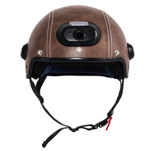 Genuine Leather Helmet with WIFI Camera & Phone Answering, 2K Video Shooting with Free Mobile App Control & Waterproof IP54