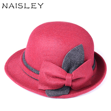 NAISLEY 2017 Real Brands Winter Ladies Wool Fedoras Cute Hats For Women Caps Women's Fashion Bowknot Style Hat Bucket