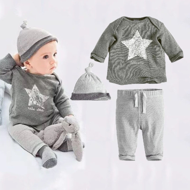 2017 new style baby clothing sets baby boy's cotton 3 pcs set hat+t-shirt+pants girl clothes casual dress suit baby costume