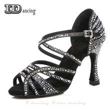 Jazz Shoes Dance Latin Dancing Rhinestone Salsa Sneakers Black Full Diamond JuseDanc