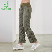 Vansydical Sport Running Yoga Broek vrouwen Slim Fold Gym Joggingbroek Herfst Winter Outdoor Fitness Workout Jogging Broek(China)