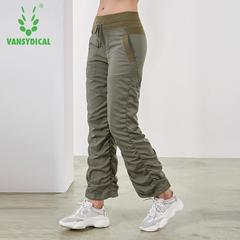 Vansydical Sports Running Yoga Pants Women's Slim Fold Gym Sweatpants Autumn Winter Outdoor Fitness Workout Jogging Trousers