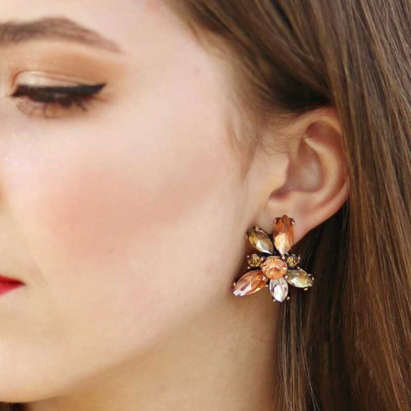 JURAN 26 Style Simple Colorful Crystal Statement Earrings ethnic wedding jewelry accessories Rhinestone stud earrings for women