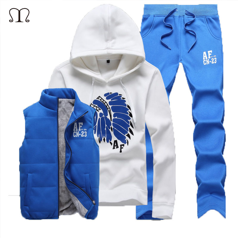 Sweat Suit Tracksuit Men Hoodies Men Tracksuit Set Jacket Vest Pants Men Clothing Set Sportsuit Jogger Men Sweat Homme 2018