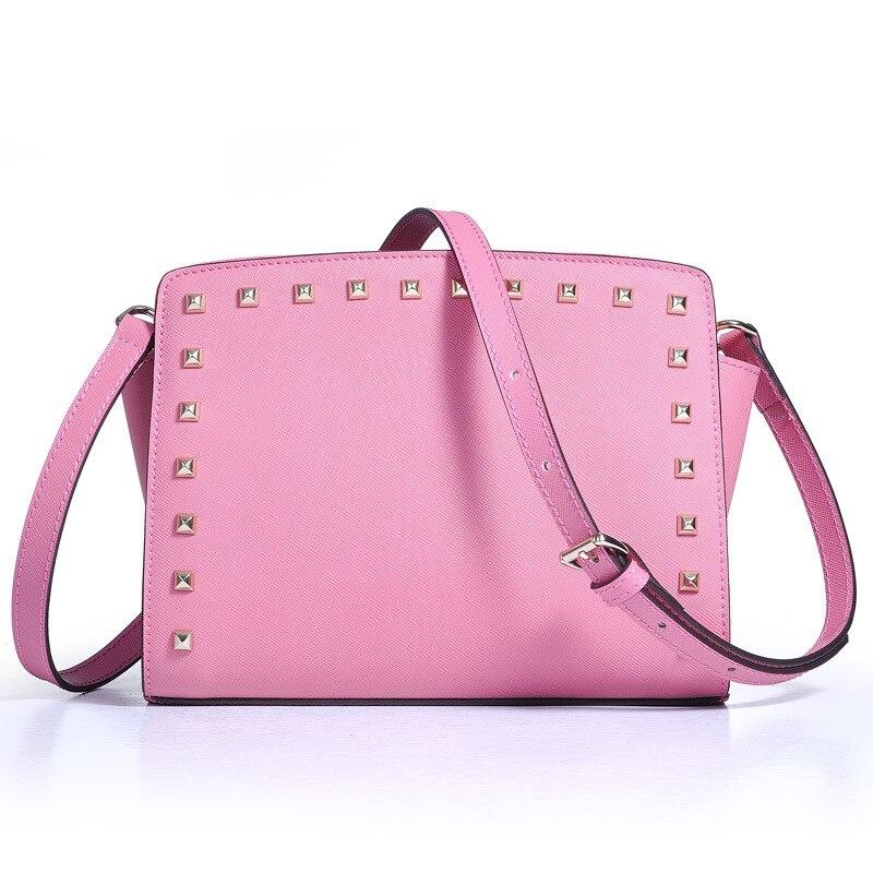 Pink Décoration Point Sac De Sacs Femmes En Carré Bandoulière Messenger Pour Belle Cuir Section light Rivet Green Chaîne burgundy Croix qEv6nac