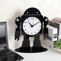 2019 Acrylic Large Digital Table Clocks Modern Design Cartoon Ultra Quiet Quartz Desktop Clock Black Office Watch Free Shipping