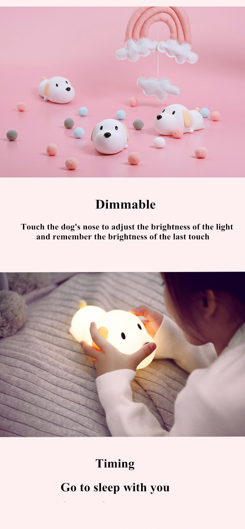 SuperNight Cute Dog LED Night Light Silicone Puppy Rechargeable Timing Dimmable Touch Sensor Kids Baby Bedside Table Lamp Gift (2)