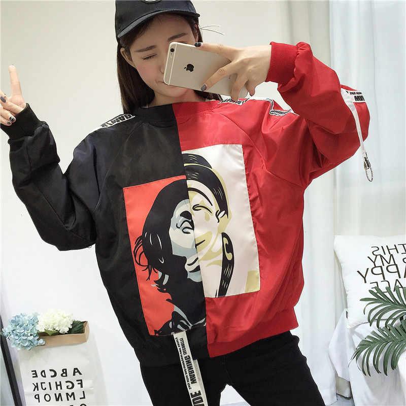2018 été printemps la nouvelle mode rouge noir coupe-vent vestes femmes base Baseball veste femme manteau Clown impression Outwear