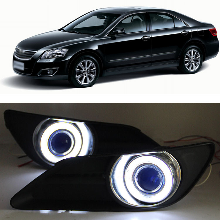 Ownsun Exact-Fit Super COB Fog Light Angel Eye Bumper Projector Lens for Toyota Camry ownsun innovative super cob fog light angel eye bumper cover for skoda fabia scout