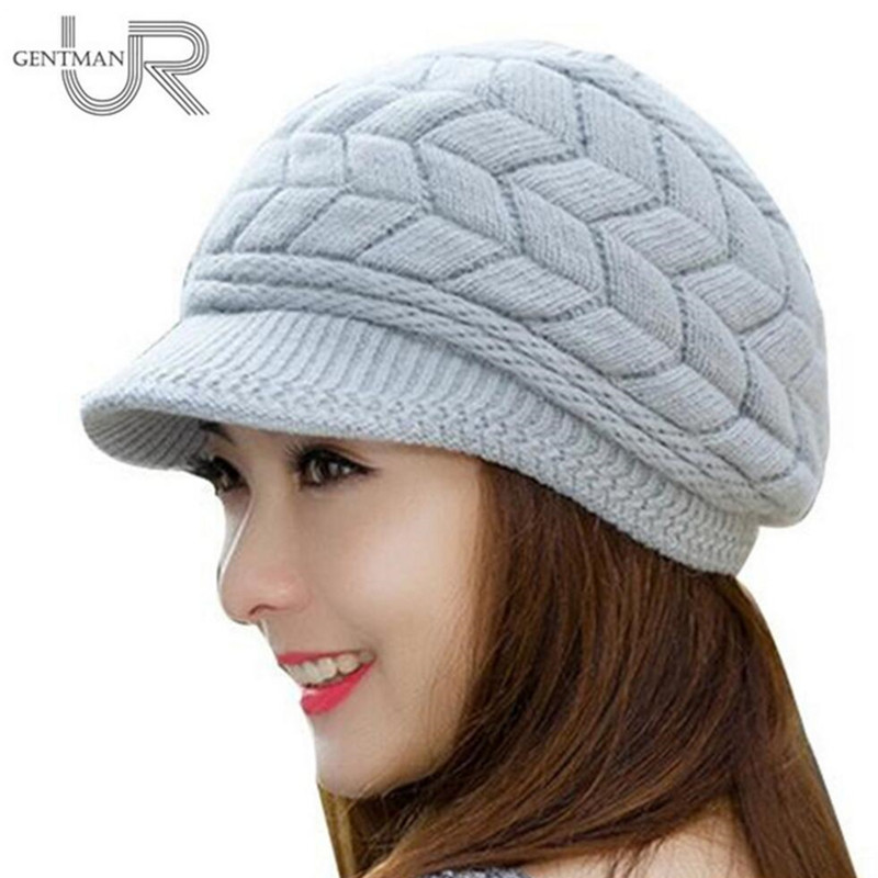 New Women Winter Hat Warm Beanies Fleece Inside Knitted Hats For Woman Rabbit Fur Cap Autumn And Winter Ladies Fashion Hat