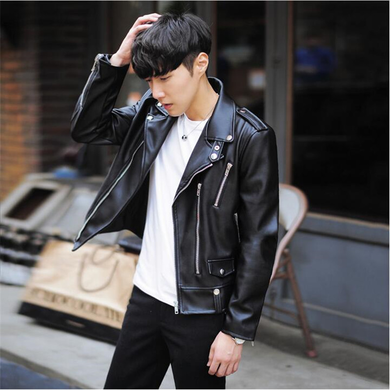 New Fashion PU Leather Jacket 2019 Spring Brand Men Black Solid Mens Coats Trend Slim Fit Youth Motorcycle Jacket  A3078