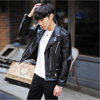 New Fashion PU Leather Jacket 2019 Spring Brand Men Black Solid Mens Coats Trend Slim Fit Youth Motorcycle Jacket  A3078 цена 2017