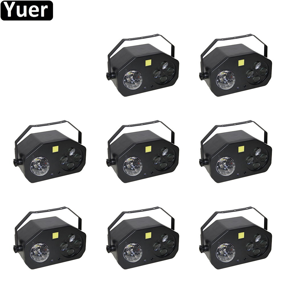 8Pcs/Lot  Multifunction Music Effect Light Laser Strobe Spot Beam 4IN1 Sound Party Stage Lights For DJ Disco Party Wedding Light