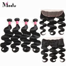 Peruvian Body Wave Bundles with Frontal 4 Bundles with Ear to Ear 13X4 Pre Plucked Free Part Frontal Non-Remy 100% Human Hair