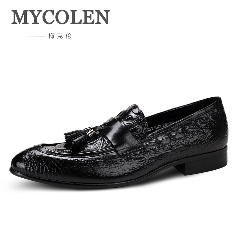 MYCOLEN New 2018 Men Black Genuine Leather Shoes Party And Wedding Slip-On Men Dress Shoes Spring/Autumn Handmade Men Loafers new 2017 men s genuine leather casual shoes korean fashion style breathable male shoes men spring autumn slip on low top loafers