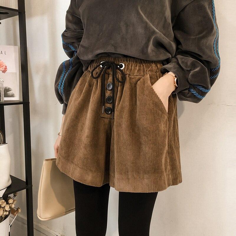 New Spring And Autumn Plus Size Women   Shorts   Loose High Waist Corduroy Fashion Korean XXXXXL   Shorts   Womens