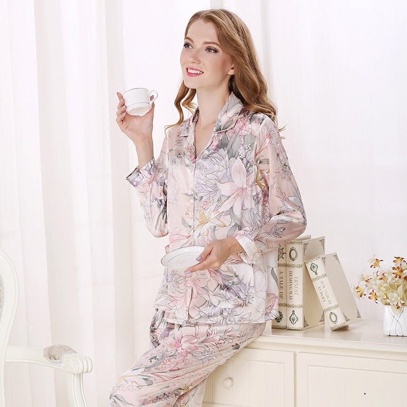 Real Silk Pajama Female 100% SILK Sleepwear Women Long-Sleeve Pyjama Pants Two-Piece Sets High Quality Home Clothing T8122