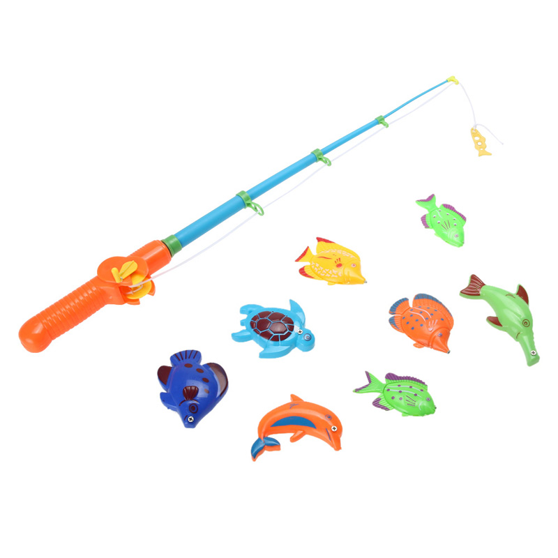 1 Rod &8 Fish Catch Hook Pull Children Bath Fishing Game Magnetic Fishing Game Cute Set Toy Magnetic Funny Pretend Fishing Toys