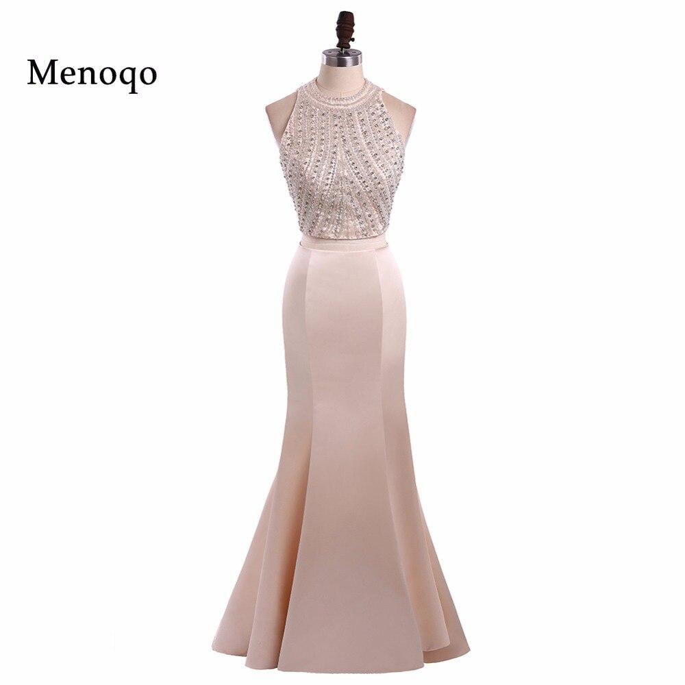 Menoqo New Two Piece Prom Dresses Long Beaded O Neck Mermaid vestidos de baile Real Picture