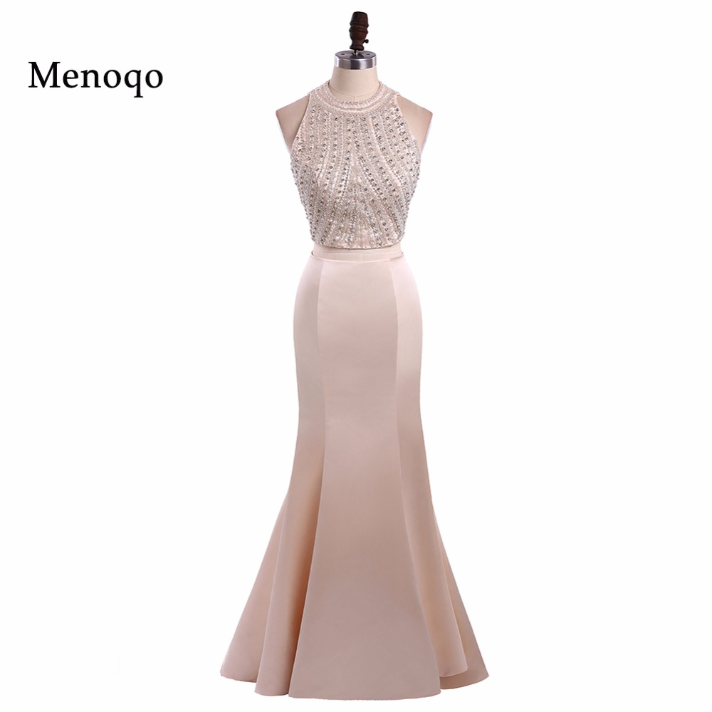 Menoqo 2018 New Two Piece   Prom     Dresses   Long Beaded O-Neck Mermaid vestidos de baile Real Picture Formal Evening Party Gowns