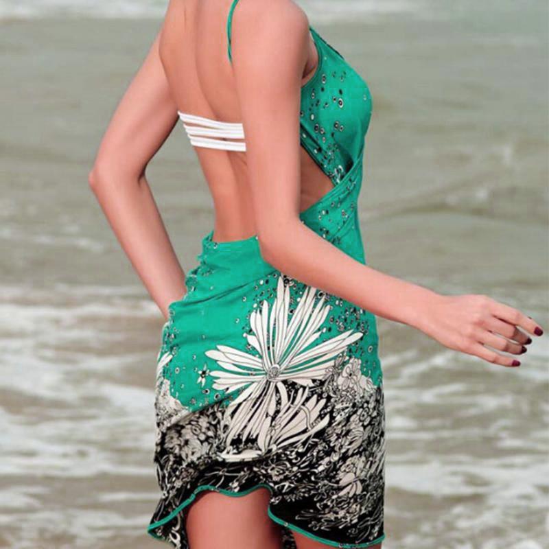 17 New Hot Women Beach Dress Sexy Sling Beach Wear Dress Sarong Bikini Cover-ups Wrap Pareo Skirts Towel Open-Back Swimwear 9