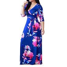 Lady Plus Size Womens Dress Wear Fat MmV Collar Summer Sundress Printed Tie Waist Sexy