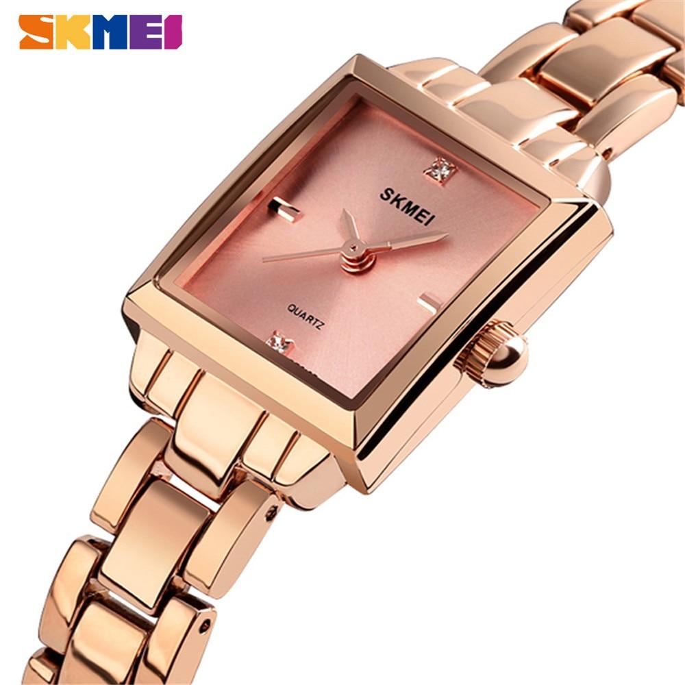 SKMEI Women Quartz Watches Fashion Ladies Watch Metal Strap Rose Gold Girl Watch Waterproof Quartz Watches Relogio Feminino 1407