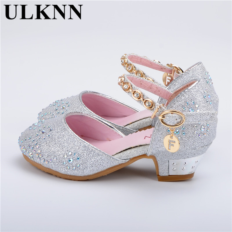 ULKNN Sandals For Girls soft Leather Princess Baby Shoes Lady High Heels Kids New Top Children Sandals Spring Party Shoe Tide
