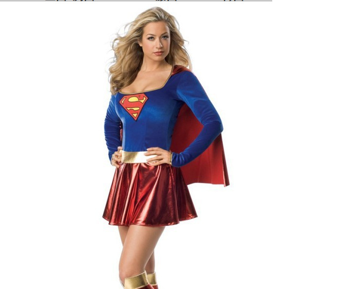 Adult Supergirl Cosplay Costume Super Woman Superhero Sexy Fancy Dress Girls Full Set Uniform Superman Halloween Costumes Outfit