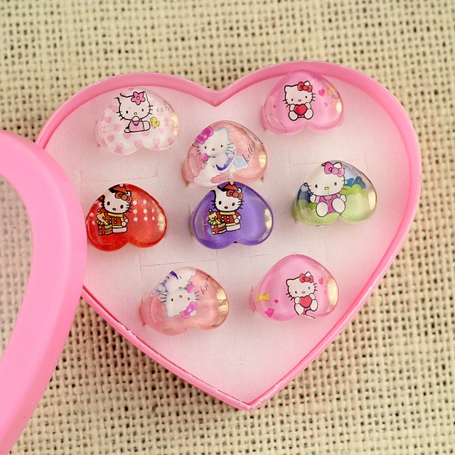 3b9c5ac50 8Pcs wholesale jewelry Display princess Box ring animation Children Cartoon Hello  Kitty KT Cat Resin Rings Party Gift