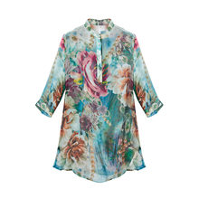 100% Silk Crinkle Chiffon Printed Shirt Natural Pure Silk Fabric Women Spring and Summer Style Half Sleeve Shirts Plus Size(China)