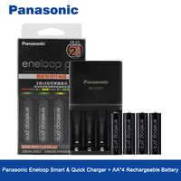 Panasonic Original 4 PCS/LOT 2550 mAh Ni-MH AA Batteries rechargeables préchargées et chargeur de Charge rapide de haute qualité pour AA/AAA