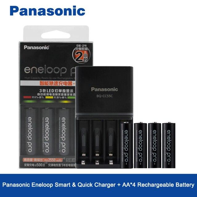 Panasonic Original 4 PCS/LOT 2550 mAh Ni MH AA Batteries rechargeables préchargées et chargeur de Charge rapide de haute qualité pour AA/AAA