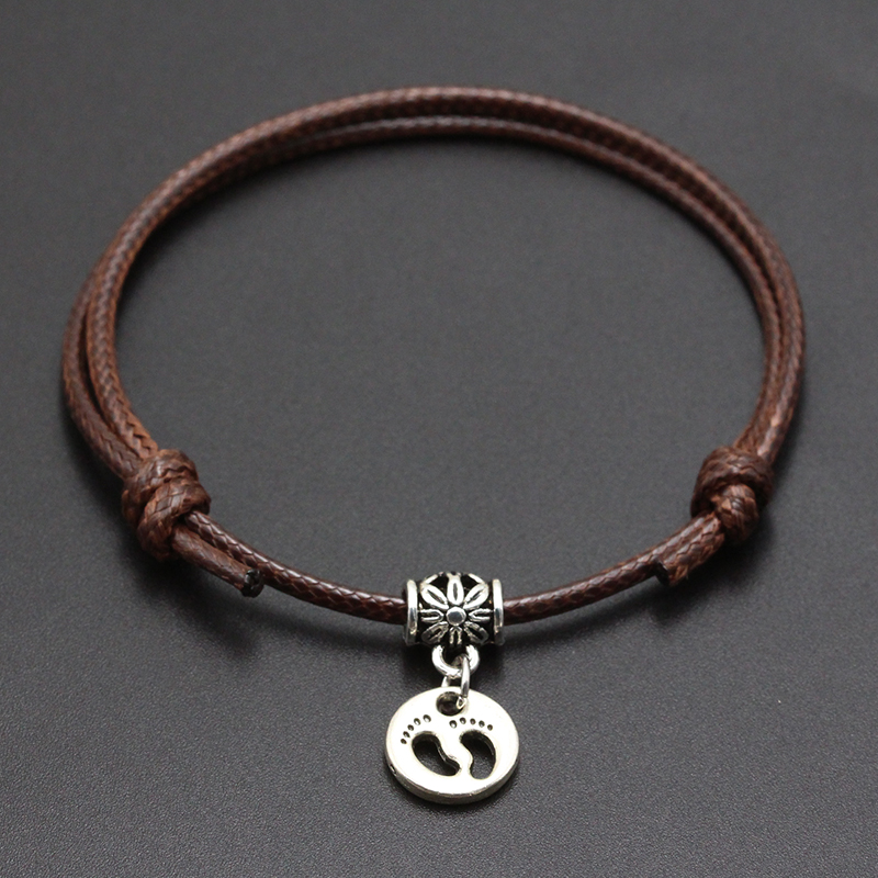 2020 New Small Foot Print Pendant Red Thread String Bracelet Lucky Black Coffee Handmade Rope Bracelet for Women Men Jewelry
