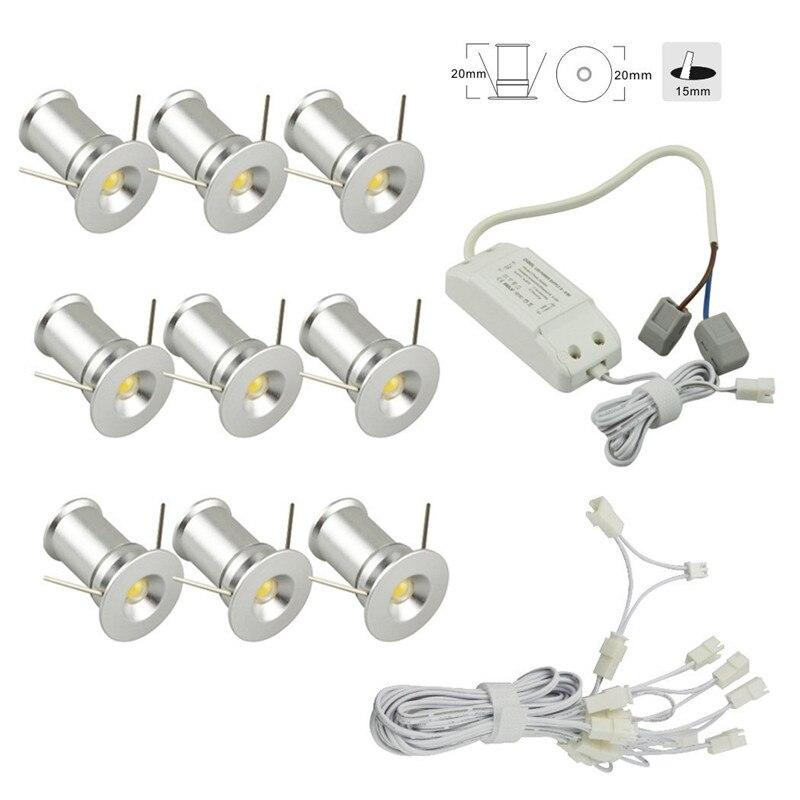 1 w encastré LED sous armoire éclairage Downlights projecteurs Kit 9 Mini lumières pour cuisine armoire Bar à vin compteur câblé