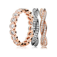 YCS 100% 925 Sterling Silver Rose Alluring Braided Ring Stack - Charms rings Fit DIY Original Jewelry A set of prices