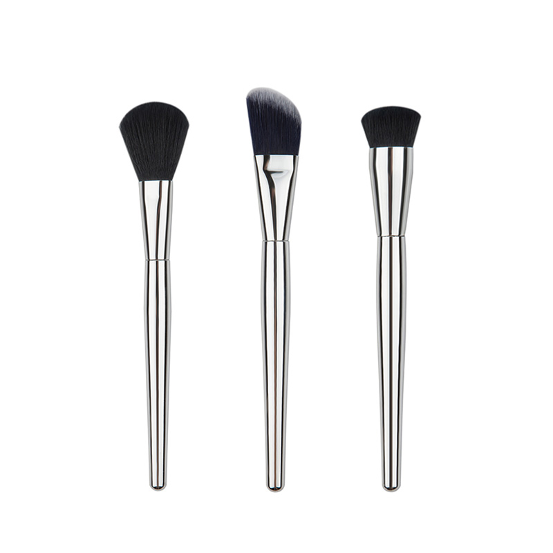 3pcs Flat Oblique Contour Face Blend Foundation Cream Cosmetic Makeup Brush Tools Metal Handle mint flat contour makeup brush