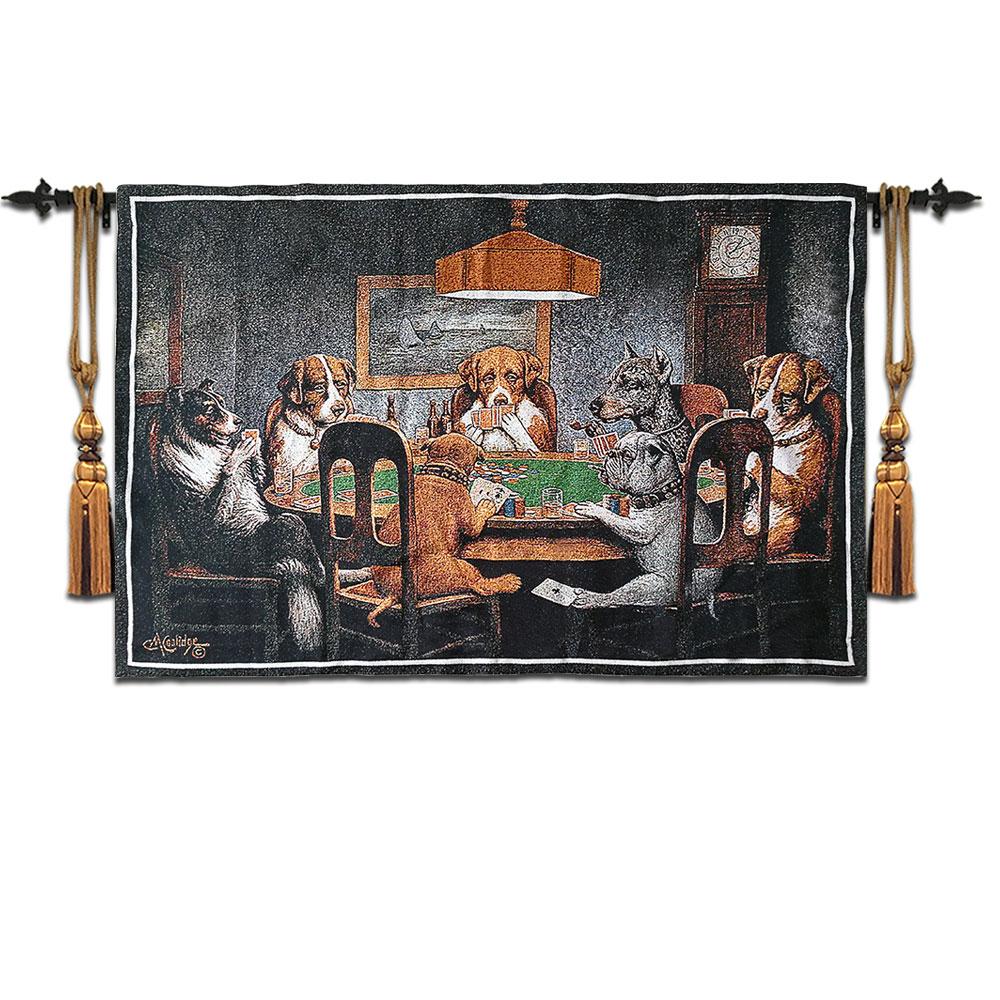 77*120 cm belgique jacquared tenture murale pestry chambre d'enfants tapis couverture tissu humour peintures murales mondialement célèbre chien jouant au poker