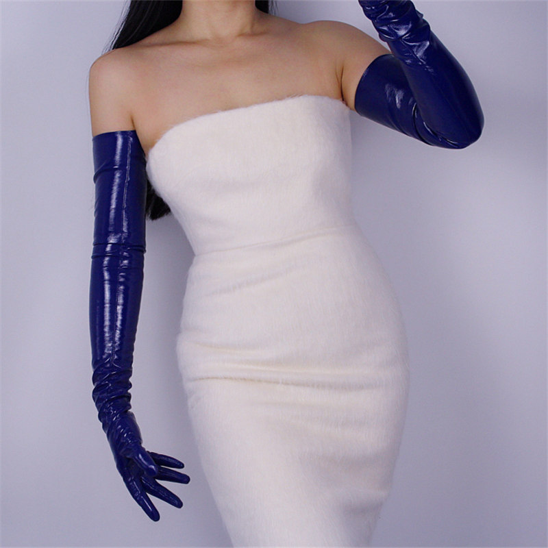 70cm Extra Long Patent Leather Gloves Emulation Leather PU Female Bright Leather Dark Blue Royal Blue WPU01-70