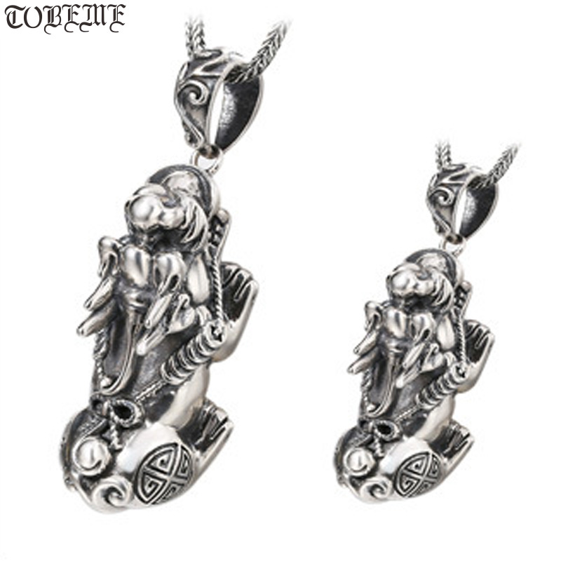 100 925 Silver Fengshui Pixiu Symbol Pendant vintage sterling Wealth Pixiu Symbol Amulet Pure Silver Lucky