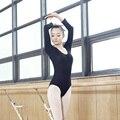 Adulto Terno de Ginástica Collant Dança Ballet desgaste do corpo De Manga Comprida Básica