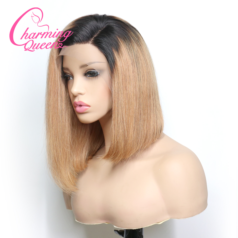 Pre Plucked Lace Front Human Hair Wigs For Black Women Brazilian Remy Hair Ombre Straight Short