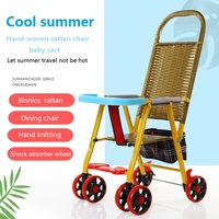 Hand woven rattan chair trolley for baby in summer Portability and durability Easy to fold Child stroller