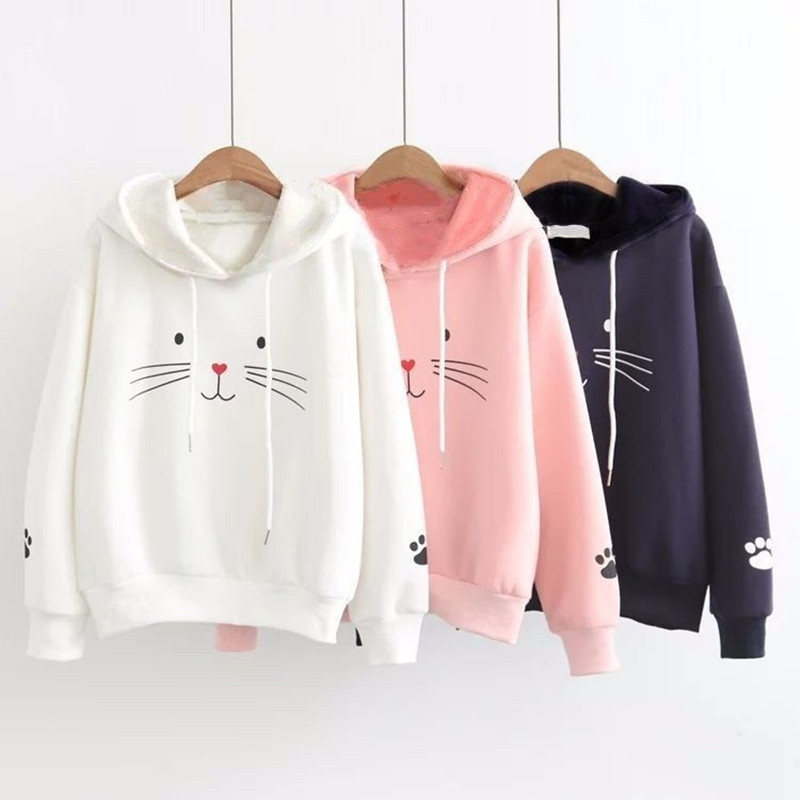 Women Cute Cat Hoodie Long Sleeve Hoodie Lovely Female Hoody Black Sweatshirts Loose Size Lovely Cotton Treetwear