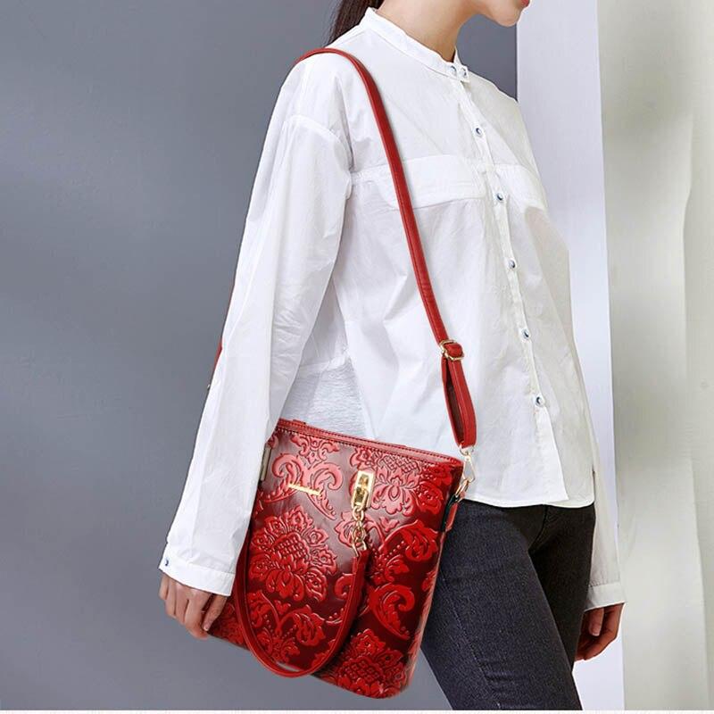 6 pieces / set of fashion women's composite bag PU leather printing ladies handbag shoulder bag wallet wallet key bag set SM1119-in Shoulder Bags from Luggage & Bags    3