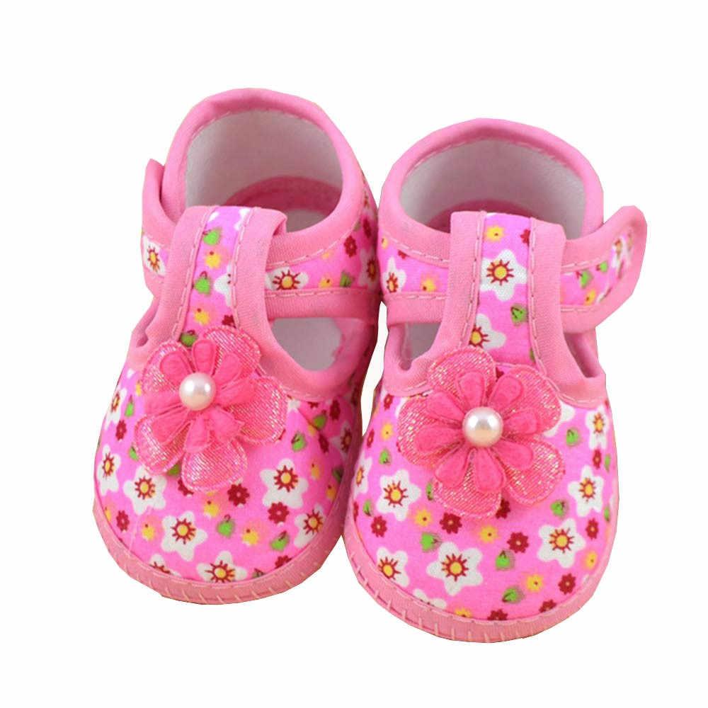 TELOTUNY First Walkers ผ้าฝ้ายดอกไม้ Bowknot Soft Crib รองเท้า First Walkers ทารกแรกเกิดทารกเด็กผู้หญิงสบายๆรองเท้า 19L0524