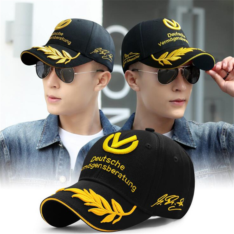 Wholesale Black Red   baseball     cap   2017 men women hats F1   caps   Michael Schumacher   Cap   Racing Mens Hat Wheat Embroider