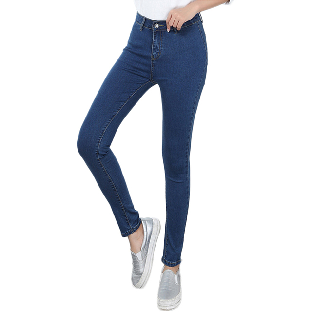 Large Size Skinny Elastic Jeans For Women With High Waist Stretching Pencils Women's Jeans Black Large Size Trousers For Women